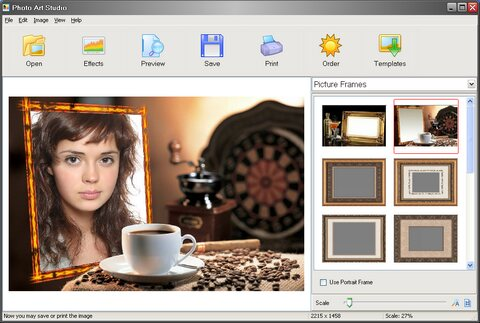 Photo Art Studio screenshot: photo framing software, art, editor, frame, postcard, collage, mask, decoration, enhancement